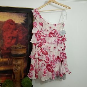🌺Ruffled Floral One sleeve Dress
